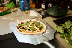 Pizza ready to be fired (Joe Lewit) Tags: planart1450 pizza raw ingredients preparation