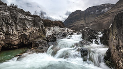 (Chris B70D) Tags: glencoe scotland 2019 autumn winter cold grey green moss hills mountains scenery grass heather sky clouds skyfall figure black tones colour edit raw canon 70d go outdoors travel nature fresh landscape history highlands holiday weekend roadtrip cairn rain best scottish travelling waterfall long exposure 1000x nd filter tripod gorrila grip water milk stones rocks clean 30 seconds movement flow natural setting