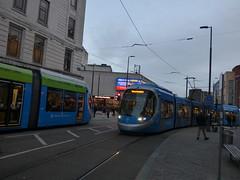 West Midlands Metro trams 32 and 17 at Bull Street Tram Stop (ell brown) Tags: birmingham westmidlands england unitedkingdom greatbritain westmidlandsmetro westmidlandsmetroextension urbos3 tram caf rechargeablebatteries bullst bullstbirmingham ola martineauplace corporationst