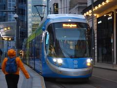 West Midlands Metro tram 32 at Bull Street Tram Stop (ell brown) Tags: birmingham westmidlands england unitedkingdom greatbritain westmidlandsmetro westmidlandsmetroextension urbos3 tram caf rechargeablebatteries bullst bullstbirmingham ola
