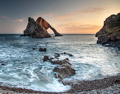 Bow Fiddle Rock, Portknockie, North East Scotland coast. (Ratters1968: Thanks for the Views and Favs:)) Tags: canon5dmkiv martynwraight ratters1968 canon dslr photography digital eos scotland moray morayfirth sunset dusk colour beauty shore sea coast view landscape highlands grampian scenery culture nature natural scenic mountains mountainous wildlife nationaltrust portknockie bow fiddle bowfiddlerock metamorphicrock quartzite quartzsandstone cullenquartziteformation
