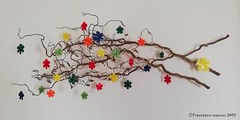 Corkscrew hazel branches decorated with stars from my Space Oddity units (mancinerie) Tags: origami modularorigami mancinerie paperfolding papiroflexia papierfalten star francescomancini