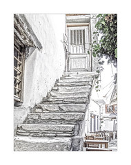 0978aCEb The Old Town (foxxyg2) Tags: hk highkey highkeyplus stairs buildings doors windows chora naxos cyclades greece niksoftware dxo dfine2 colorefexpro4