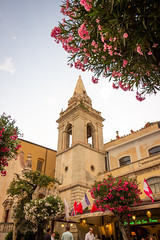 Piazza IX Aprile, Taormina. (leoparphotography) Tags: taormina sicily italy traveling streetphotography cathedral church architecture perspective trees colorful summer europe mediterranean