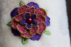 Handcrafted Flower (steve_whitmarsh) Tags: macro closeup flower craft art stitch beads embroidery macromondays handcrafted handmade sewing