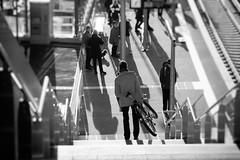 Elbbrücken (michael_hamburg69) Tags: hamburg germany deutschland hansestadt hafencity haltestelle sbahnhof sbahn architekten architect volkwinmarg meinhardvongerkan bau gerkanmargundpartner gmparchitekten röhrenform architektur architecture transport suburbanrailway suburbantrain flickrphotowalk unterwegsmitpetrajuttaundchristian man people fahrrad bicycle stairs treppe