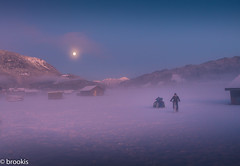 Add a Human Element (brookis-photography) Tags: garmisch fog pink moon evening fields snow winter boys christmastree humanelement