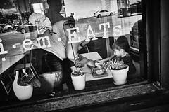X1004635 (alhawley) Tags: streetphotography candid fujifilmx100f street abstract acros american americanabstract arebureboke blackandwhite bw captureone everytownusa grain gritty highcontrast impressionistic monochrome naturallight reflection shadow selfie usa tattoo window