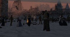 1914 Christmas (cadeSL) Tags: sl secondlife second life virtual world avatar village town event music song poems art history snow christmas xmas 1914 ww1 war one soldiers military trenches guns fighting peace