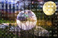 Spheres (Shastajak) Tags: sphere glassball crystalball globe moon fencepost trees sunrise lightroomcc photoshopcc layers blending filters abitoffunbecauseitssunday sliderssunday hss composite