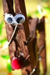 Perfectly imperfect (kerwitcherwoo) Tags: macromondays homemade wood reindeer craft eyes brown bokeh fun smile humour christmas handmade