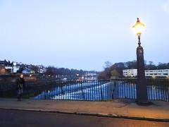 Weir on the river Dee and streetlight on the Old Dee Bridge, 2019 Nov 30 (Dunnock_D) Tags: britain cheshire chester dee england gb handbridge olddeebridge uk unitedkingdom blue bridge citywalls dusk lateafternoon railings river sky streetlight twilight weir