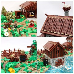 Castle Collab (-Balbo-) Tags: lego moc castle roof technique stork bauwerk creation medieval farm house watermill mill