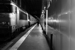 Along the stopped train (pascalcolin1) Tags: paris13 austerlitz gare station homme man controller lumière light reflets reflection mur wall photoderue streetview urbanarte noiretblanc blackandwhite photopascalcolin 50mm canon50mm canon