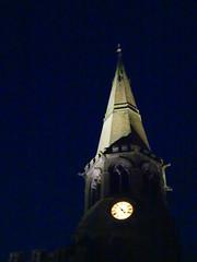 St Wilfrid's church, Standish, 2019 Dec 09 (Dunnock_D) Tags: britain england gb lancashire stwilfrids uk unitedkingdom blue church clock light night sky tower wigan standish