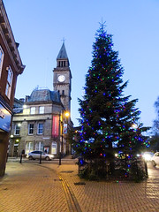 Christmas tree in Chorley, 2019 Dec 09 (Dunnock_D) Tags: britain chorley christmas england gb lancashire townhall uk unitedkingdom blue sky tree