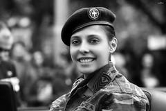 smiling eyes (dim.pagiantzas   photography) Tags: people person woman female officer uniform face eyes bokeh portrait grayscale monochrome blackandwhite parade