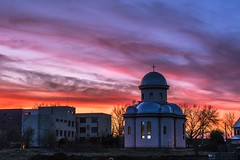 Colours at the sunset (Daniel Boca) Tags: landscape city cityscape sky sunset colours redsky bluesky church architecture outdoor outside arad romania clouds winter building trees canon canoneurope canonromania canon750d
