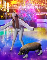 Bambi on Ice (Natsumi Xenga) Tags: genus classic session akira angi manners japan japanese cute kawaii blackdragon maitreya lara nutmeg entwined camille coco sweater scandalize deryne meli skates ice winter christmas rink chuck hippo colors composite photoshop