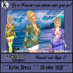 KarmatoseD Kylee Dress Ad MP (karmandi1) Tags: karmatosedesigns dress bouse sheer silk print skirt satin top bottom inside outside gorgeous hud 16colors color faric texture leaves plunging neckline deep cleavadge blonde updo karmatose designs new stylish knockout