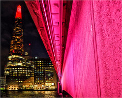 Week 50 Red light area (Dominic@Caterham) Tags: bridge wall light london river thames shard water buildings