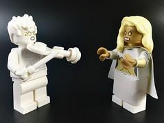 The White Violin vs Starlight (theoctopirate_customs) Tags: lego umbrella academy vanya hargreeves white violin the boys seven starlight purist custom minifigure minifigures afol