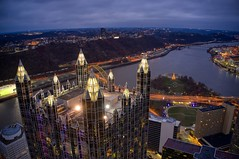 Holidays in Pittsburgh (Brook-Ward) Tags: city pittsburgh cityscape aerial brook ward pitt hdr pgh 412 burgh christmas holiday building tree architecture three place rivers ppg drone