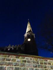St Wilfrid's church, Standish, 2019 Dec 09 (Dunnock_D) Tags: britain england gb lancashire stwilfrids uk unitedkingdom blue church clock light night sky tower wall wigan standish