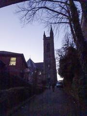 St Mary's church, Chorley, 2019 Dec 09 (Dunnock_D) Tags: britain chorley england gb lancashire stmarys uk unitedkingdom blue church footpath path sky trees