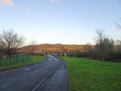 Haworth Road, Chorley, 2019 Dec 09 (Dunnock_D) Tags: britain chorley england gb lancashire rivington uk unitedkingdom blue grass green moon moor road sky trees haworthroad