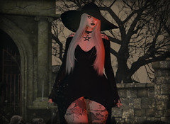 Graveyard Shift (Diavkha) Tags: femboy femboi boy male man gay crossdressing drag genderbender flatchest witch wicca dark gritty goth gothic fashion ink demonic secondlife second life photography