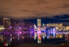 City Reflections (tquist24) Tags: hdr indiana nikon nikond5300 outdoor southbend southbendriverlights stjosephriver city clouds cloudy color colorful downtown geotagged lights longexposure outside reflection reflections river sky tree trees urban water night