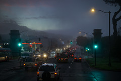 Morning Communte - (fksr) Tags: commute traffic road morning calfornia cars street fog dawn