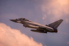 Up and away (aquanout) Tags: aeroplane aircraft airplane plane sky cloud flare blue aviation eurofighter typhoon