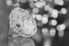 ode part two (rockinmonique) Tags: oranment christmas lace glass delicate pretty macro bokeh mono monochrome bw blackandwhite sparkly moniquewphotography canon canont6s tamron tamron45mm copyright2019moniquewphotography
