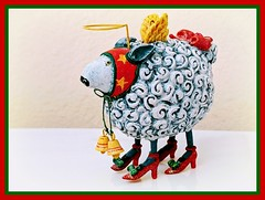 Ridiculous, hilarious and an absolute treasure... (Bennilover) Tags: shopping christmas sisterinlaw zona laughing gift sheep halo wings bow bells redshoes decorated ornament favorite thismaynotbeoldsanjuanbut myfavoritechristmasornament myfavoriteornamentordecoration
