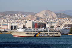 Ferry AG.NEKTARIOS AIGINAS departing the Port of Piraeus, Athens, Greece (Jaws300) Tags: canon5d ship agnektariosaiginas ag nektarios aiginas canon 5d aegeansea eu europe europa piraeusportauthority passengerport passenger passengership greeceflagged flagged flag λιμάνι του πειραιά saronic gulf saronicgulf aegean sea line shipping company ferry cruiseferry sunrise morning harbor harbour dock docked vessel boat cruise athens athena attica greece portofpiraeus port piraeus portpiraeus giant bridge cabins lifeboats liferafts 8969343 237021400 sx7083 passengerferry roro rollonrolloff car vehicle carferry vehicleferry anes ferries anesferries mountain mountains hill hills city