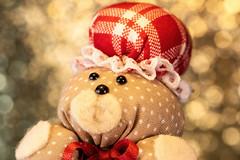 Mama Bear (*Millie*) Tags: bear mamabear hat bokeh fabric bow red toy macro vintage handmade macromondays pattern dots squares canoneosrebelt6i ef100mmf28lmacroisusm milliecruz little itsbeginningtolookalotlikechristmas christmas
