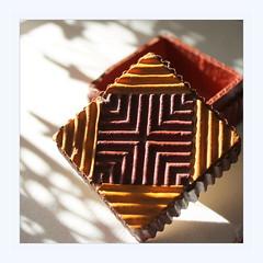 little box (overthemoon) Tags: macromondays handmade box cardboard corrugated painted brown yellow zwilling sunlight shadows triangles ridges