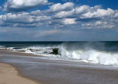 Incoming! (edenseekr) Tags: crashing waves foam ocean sandy beach jerseyshore