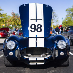 Ninety-Eight (GmanViz) Tags: gmanviz color car automobile vehicle detail shelby cobra replica hood headlights nose stripes numbers columbuscarscoffee