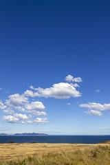 Kelvedon Beach (Garrett Rock) Tags: tasmanhighway tasmania tasman eastcoast bassstrait tasmansea beach whitesand sky clouds blue cloudy waves water kelvedonbeach australian australia grass pasture sheep tas island shoreline shore coastline coast clearwater farmstead tasmanian farm grasslands