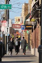 high street (brown_theo) Tags: signs buckeye donuts subway columbus ohio pedestrians sidewalk