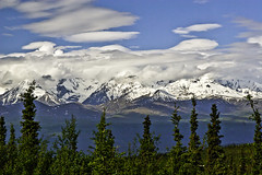 Clouds over Mountain Tops (woodchuckiam) Tags: cloudsovermountains richardsonhighway alaska sky clouds mountain tundra trees woodchuckiam