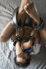 leathercuffs (Matter is Spirit) Tags: man nude bound leather cuffs male naked bed fine art artistic erotic light shadow