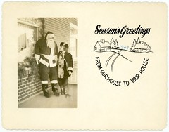 Season's Greetings, 1949—From Our House to Your House (Alan Mays) Tags: ephemera greetingcards greetings cards christmascards photographs photos foundphotos photographicgreetingcards christmas xmas december25 holidays holidaygreetings seasonsgreetings christmasgreetings santaclaus santa men beards decorations lifesize children girls weidman families clothes clothing hats coats boots porches houses windows bricks trees illustrations serrated edges borders humor humorous funny 1949 1940s antique old vintage typefaces type typography fonts curvedtext textonacurve