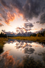 Wyoming Sunset (Jeremy Duguid) Tags: grand teton national park tetons jackson hole travel nature landscape flickr jeremy duguid sony west western wyoming yellowstone mountains mountain peaks cloud clouds sunset dusk fall autumn color colors beauty reflection reflections