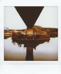 Lueurs flottantes (andrefromont) Tags: andréfromont andrefromontfernandomort fernandomort fuji instax instaxsq instantané marchienneaupont charleroi canal pont bridge hainaut