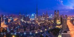 Dubai - Skyline Blur Hour Panorama (030mm-photography) Tags: rot dubai skyline blauestunde bluehour burj burjdubai burjkhalifa city cityscape stadt morgen nightshot nachtaufnahme morning blue blau skyscraper hochhäuser uae vereinigtearabischeemirate vae reise travel landscape landschaft