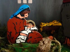 ...Jesus is born... (cegefoto (Not very active)) Tags: macromondays handmade nativityscene manger jesus mothermary jigsaw wood macro christmas